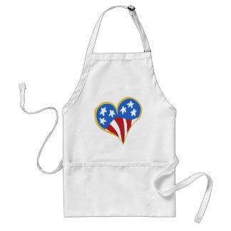 El delantal del cocinero del corazón de la bandera