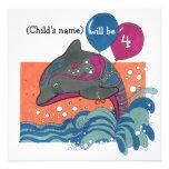 El delfín con el 4to cumpleaños de los globos invi invitación