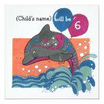 El delfín con el 6to cumpleaños de los globos invitación personalizada