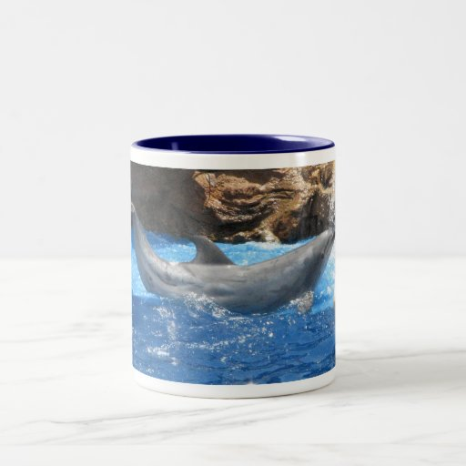 El delfín engaña la taza de café