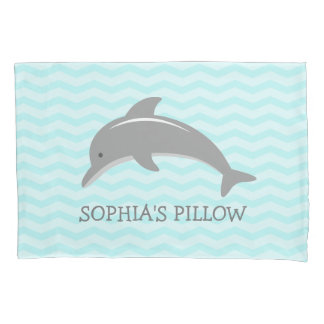 El delfín gris de la aguamarina linda embroma la funda de cojín