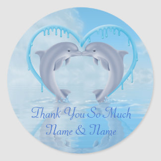 El delfín le agradece los pegatinas del favor del pegatina redonda