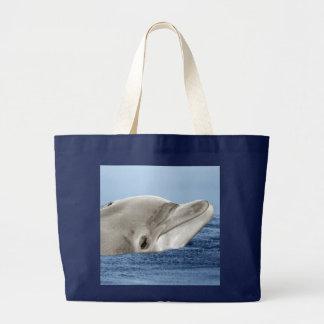 El delfín sonriente bolsa de tela grande