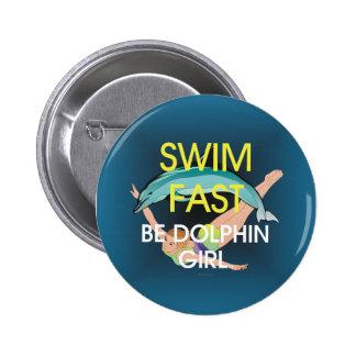 El delfín SUPERIOR de la nadada ayuna Pin Redondo 5 Cm