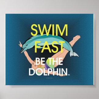 El delfín SUPERIOR de la nadada ayuna Póster