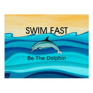 El delfín SUPERIOR de la nadada ayuna Tarjeta Postal