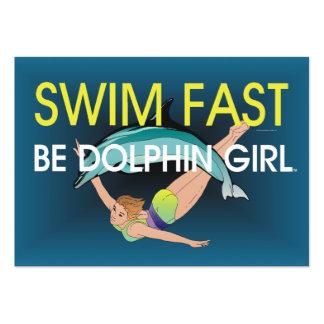 El delfín SUPERIOR de la nadada ayuna Tarjetas De Visita Grandes