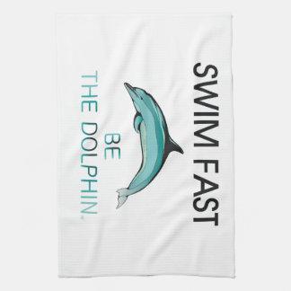 El delfín SUPERIOR de la nadada ayuna Toallas De Mano