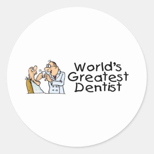 El dentista más grande de los mundos pegatinas redondas