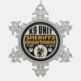 El departamento de sheriff de la unidad K9 Adorno De Peltre En Forma De Copo De Nieve