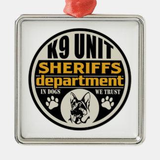 El departamento de sheriff de la unidad K9 Adorno Cuadrado Plateado