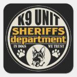 El departamento de sheriff de la unidad K9 Pegatina Cuadradas Personalizada