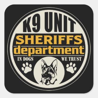 El departamento de sheriff de la unidad K9 Pegatina Cuadrada