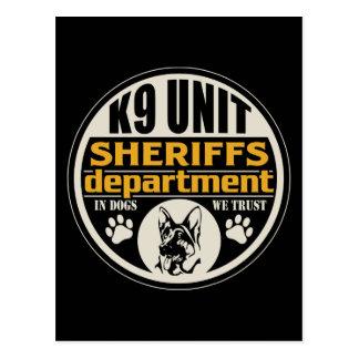 El departamento de sheriff de la unidad K9 Postales