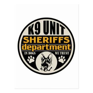El departamento de sheriff de la unidad K9 Tarjeta Postal