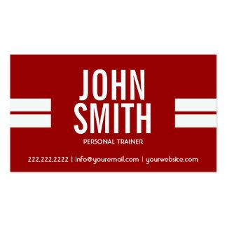 El deporte rojo del instructor de la aptitud raya tarjetas de visita