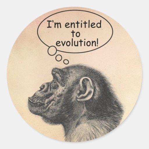 El derecho de la evolución del gran mono pegatinas