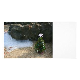 El derecho del árbol de navidad agita rocas tarjeta fotografica