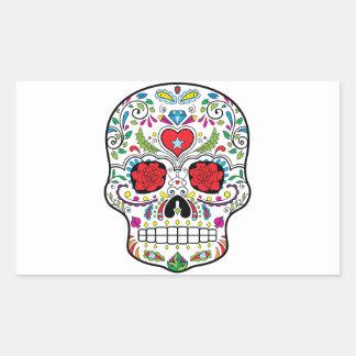 El DES Los Muertos del diámetro del cráneo del Pegatina Rectangular