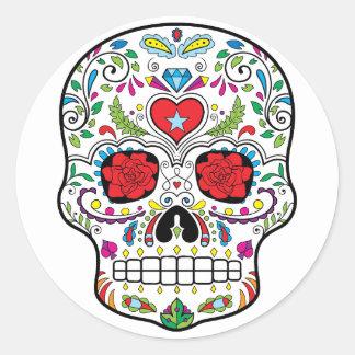 El DES Los Muertos del diámetro del cráneo del Pegatina Redonda