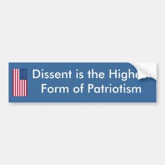 El desacuerdo es la forma más alta de patriotismo etiqueta de parachoque