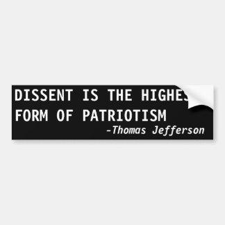 El DESACUERDO es la forma más alta de patriotismo Pegatina De Parachoque