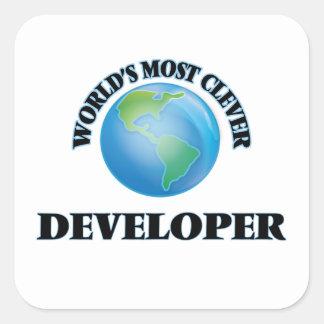 El desarrollador más listo del mundo pegatina cuadrada