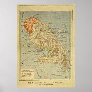 El desastre del mapa del Saint Pierre de Martinica Poster