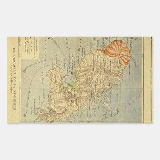 El desastre del mapa del Saint Pierre de Martinica Rectangular Pegatina