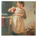 El desayuno del gatito azulejo cuadrado grande
