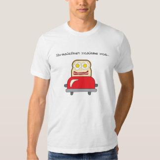 El desayuno me hace la camiseta feliz remera