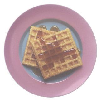 El desayuno Waffles placa Plato De Cena