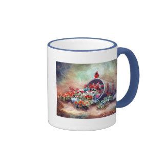 El desbordar taza de dos colores