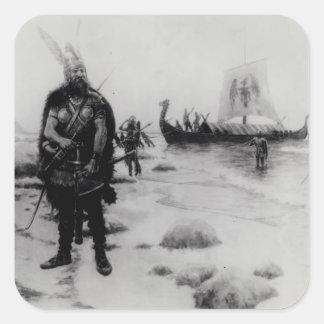 El descubrimiento de América de Leif Eriksson Pegatina Cuadrada
