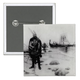 El descubrimiento de América de Leif Eriksson Pin Cuadrado