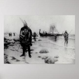 El descubrimiento de América de Leif Eriksson Póster