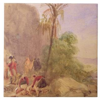 El descubrimiento del cuerpo de Tipu en la puerta  Azulejo Cuadrado Grande