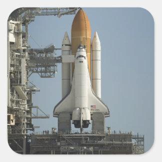 El descubrimiento del transbordador espacial pegatina cuadrada