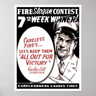 El descuido causa los fuegos -- WW2 Póster