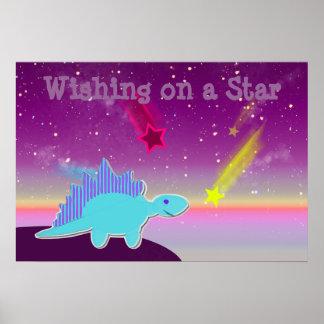 El desear en un poster azul del dinosaurio del dib