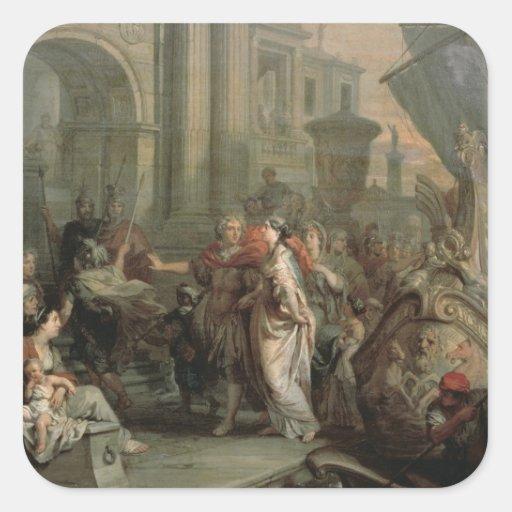 El desembarque de Cleopatra en el tarso (aceite Pegatina Cuadradas