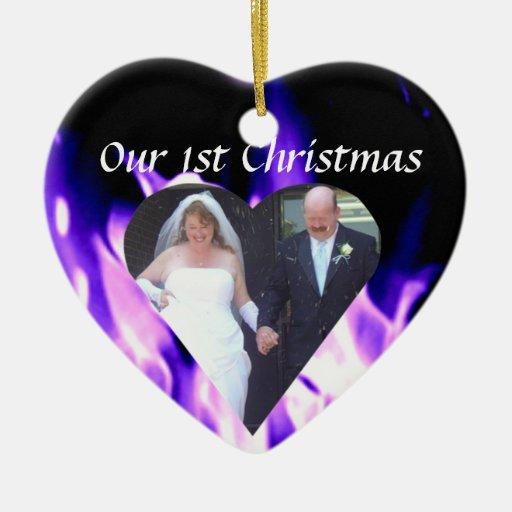 """El deseo de mi corazón nuestro """"1r"""" ornamento del adorno navideño de cerámica en forma de corazón"""
