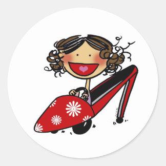 El deseo I podría montar mi zapato… Pegatina Redonda