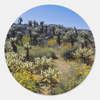 el desierto amarillo florece el estado P del desi Etiqueta Redonda