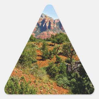 El desierto arrastra Sedona Pegatina Triangular