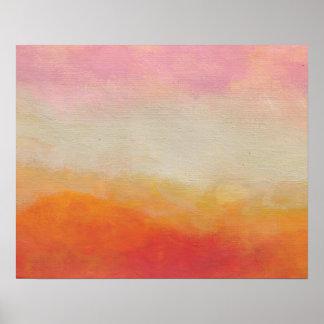 El desierto aterriza la pintura de paisaje póster