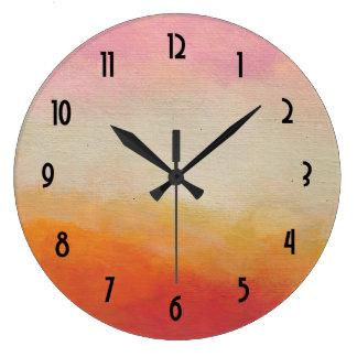 El desierto colorea la pintura de paisaje reloj redondo grande