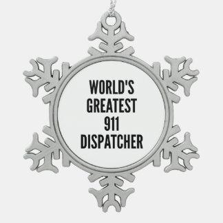 El despachador más grande 911 de los mundos adorno de peltre en forma de copo de nieve
