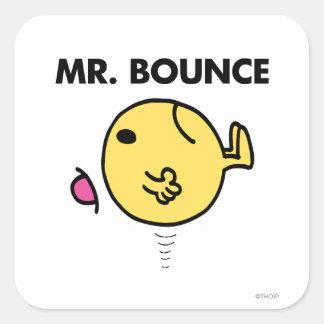 El despedir infeliz de Sr. Bounce el   Pegatina Cuadrada