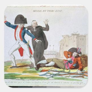 El despertar del tercer estado, julio de 1789 calcomanía cuadrada personalizada